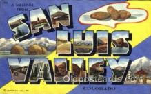 LLT001361 - Greetings From San Luis Valley, Colorado, USA Large Letter Town Towns Postcard Postcards