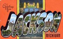 LLT001371 - Greetings From Jackson, Michigan, USA Large Letter Town Towns Postcard Postcards