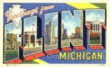 LLT001375 - Greetings From Flint Michigan, USA Large Letter Town Towns Postcard Postcards