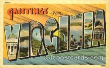 LLT001400 - Greetings From Virginia, USA Large Letter Town Towns Postcard Postcards