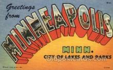 LLT001414 - Greetings From Minneapolis Minn. USA Large Letter Town Towns Postcard Postcards