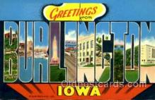 LLT001419 - Greetings From Burlington, Iowa, USA Large Letter Town Towns Postcard Postcards
