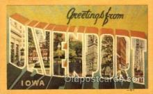 LLT001420 - Greetings From Davenport, Iowa, USA Large Letter Town Towns Postcard Postcards