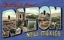 LLT001425 - Greetings From Raton, New Mexico, USA Large Letter Town Towns Postcard Postcards