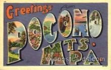 LLT001431 - Greetings From Pocono Mountains, PA. USA Large Letter Town Towns Postcard Postcards