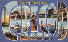 LLT001437 - Greetings From Cape Cod, Mass, USA Large Letter Town Towns Postcard Postcards