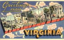 LLT001482 - Greetings From Winchester, Virginia, USA Large Letter Town Towns Postcard Postcards