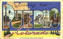 LLT001518 - Greetings From Pueble, Colorado, USA Large Letter Town Towns Postcard Postcards