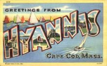 LLT001524 - Greetings From Hyannis, Cape Cod Mass. USA Large Letter Town Towns Postcard Postcards