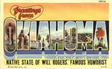 LLT001541 - Greetings From Oklahoma, USA Large Letter Town Towns Postcard Postcards