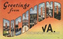 LLT001559 - Greetings From Richmond, Virginia, USA Large Letter Town Towns Postcard Postcards