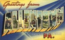 LLT001567 - Greetings From Allentown, PA, USA Large Letter Town Towns Postcard Postcards