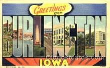 LLT001573 - Greetings From Burlington, Iowa, USA Large Letter Town Towns Postcard Postcards