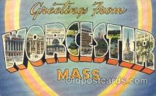 LLT001584 - Greetings From Worchester, Mass. USA Large Letter Town Towns Postcard Postcards