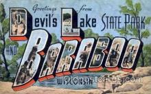 LLT001601 - Greetings From Devils Lake, Baraboo, Wisconsin, USA Large Letter Town Towns Postcard Postcards