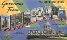LLT001613 - Greetings From Worthington, Minnesota, USA Large Letter Town Towns Postcard Postcards