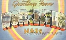 LLT001614 - Greetings From Worcester, Mass. USA Large Letter Town Towns Postcard Postcards