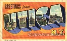 LLT001615 - Greetings From Utica, New York, USA Large Letter Town Towns Postcard Postcards