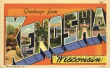 LLT001638 - Greetings From Kenosha, Wisconsin, USA Large Letter Town Towns Postcard Postcards