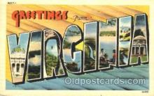 LLT001641 - Greetings From Virginia, USA Large Letter Town Towns Postcard Postcards