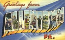 LLT001650 - Greetings From Allentown, Pennsylvania, USA Large Letter Town Towns Postcard Postcards