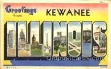 LLT001662 - Greetings From Kewanee, Illinois, USA Large Letter Town Towns Postcard Postcards