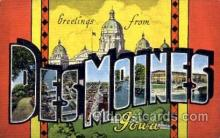 LLT001677 - Greetings From Des Moines, Iowa, USA Large Letter Town Towns Postcard Postcards