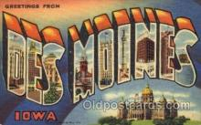 LLT001685 - Greetings From Des Moines, Iowa, USA Large Letter Town Towns Postcard Postcards
