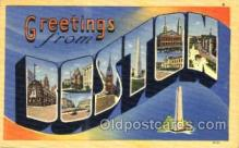 LLT001696 - Greetings From Boston, Mass. USA Large Letter Town Towns Postcard Postcards