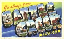 LLT001700 - Greetings From Battle Creek, Michigan, USA Large Letter Town Towns Postcard Postcards