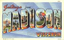 LLT001709 - Greetings From Madison, Wisconsin, USA Large Letter Town Towns Postcard Postcards