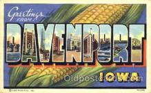 LLT001719 - Greetings From Davenport, Iowa, USA Large Letter Town Towns Postcard Postcards
