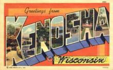 LLT001724 - Greetings From Kenosha, Wisconsin, USA Large Letter Town Towns Postcard Postcards