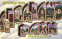 LLT001725 - Greetings From Hickland park, Illinois, USA Large Letter Town Towns Postcard Postcards