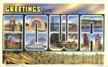LLT001728 - Greetings From Iowa, USA Large Letter Town Towns Postcard Postcards