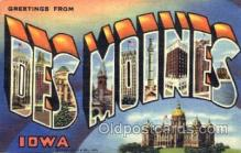 LLT001733 - Greetings From Des Moines, Iowa, USA Large Letter Town Towns Postcard Postcards
