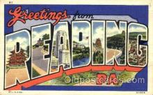 LLT001736 - Greetings From Reading, PA, USA Large Letter Town Towns Postcard Postcards