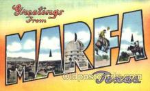 LLT001740 - Greetings From Marfa, Texas, USA Large Letter Town Towns Postcard Postcards