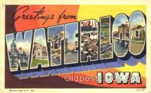 LLT001741 - Greetings From Waterloo, iowa, USA Large Letter Town Towns Postcard Postcards