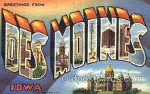 LLT001742 - Greetings From Des Moines, Iowa, USA Large Letter Town Towns Postcard Postcards