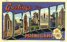 LLT001785 - Greetings From Detroit, Michigan, USA Large Letter Town Towns Postcard Postcards