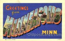 LLT001787 - Greetings From Minneapolis Minn. USA Large Letter Town Towns Postcard Postcards