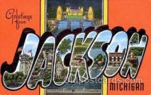 LLT001788 - Greetings From Jackson Michigan, USA Large Letter Town Towns Postcard Postcards