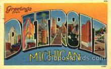 LLT001789 - Greetings From Detroit, Michigan, USA Large Letter Town Towns Postcard Postcards