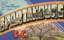 LLT001800 - Greetings From Spartanburg, South Carolina, USA Large Letter Town Towns Postcard Postcards
