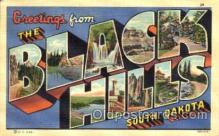 LLT001802 - Greetings From Black Hills, South Dakoto, USA Large Letter Town Towns Postcard Postcards