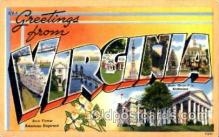 LLT001808 - Greetings From Virginia, USA Large Letter Town Towns Postcard Postcards