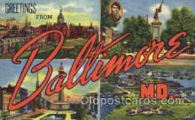 LLT001814 - Greetings From Baltimore, Maryland, USA Large Letter Town Towns Postcard Postcards