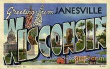 LLT001874 - Janesville, Wisconsin, USA Large Letter Towns  Postcard Postcards