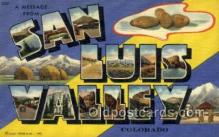 LLT002066 - San Luis Valley Colorado USA Large Letter Town Views Old Vintage Postcard Post Cards
